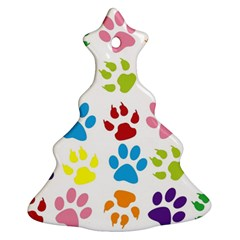 Paw Print Paw Prints Background Christmas Tree Ornament (two Sides)