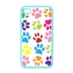 Paw Print Paw Prints Background Apple Iphone 4 Case (color)