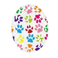 Paw Print Paw Prints Background Oval Filigree Ornament (two Sides)