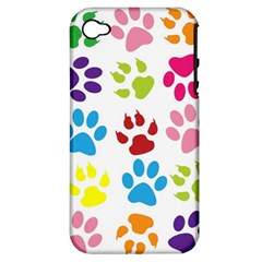 Paw Print Paw Prints Background Apple Iphone 4/4s Hardshell Case (pc+silicone)
