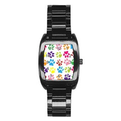 Paw Print Paw Prints Background Stainless Steel Barrel Watch