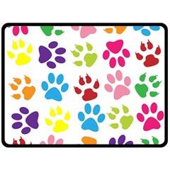 Paw Print Paw Prints Background Double Sided Fleece Blanket (large)