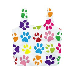 Paw Print Paw Prints Background Full Print Recycle Bags (M)