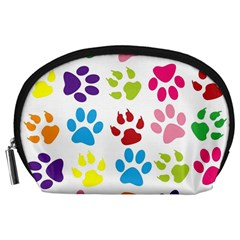 Paw Print Paw Prints Background Accessory Pouches (large)