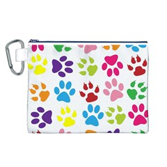 Paw Print Paw Prints Background Canvas Cosmetic Bag (l)