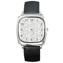 Pattern Silly Coloring Page Cool Square Metal Watch