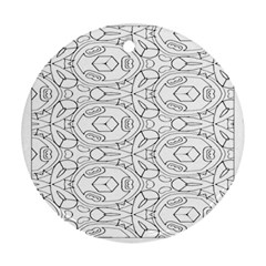 Pattern Silly Coloring Page Cool Round Ornament (two Sides)