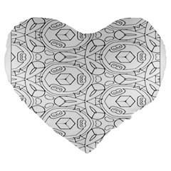 Pattern Silly Coloring Page Cool Large 19  Premium Heart Shape Cushions