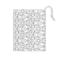 Pattern Silly Coloring Page Cool Drawstring Pouches (large)