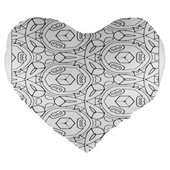 Pattern Silly Coloring Page Cool Large 19  Premium Flano Heart Shape Cushions