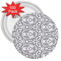 Pattern Silly Coloring Page Cool 3  Buttons (100 Pack)
