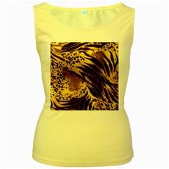 Pattern Tiger Stripes Print Animal Women s Yellow Tank Top