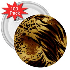 Pattern Tiger Stripes Print Animal 3  Buttons (100 pack)