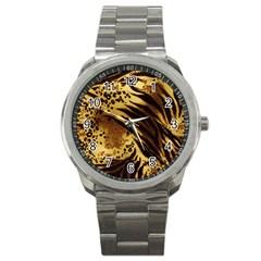 Pattern Tiger Stripes Print Animal Sport Metal Watch