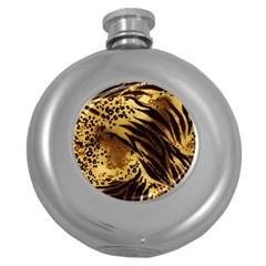 Pattern Tiger Stripes Print Animal Round Hip Flask (5 Oz)