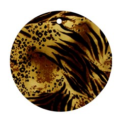 Pattern Tiger Stripes Print Animal Round Ornament (two Sides)