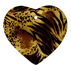 Pattern Tiger Stripes Print Animal Heart Ornament (Two Sides)
