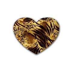 Pattern Tiger Stripes Print Animal Rubber Coaster (heart)