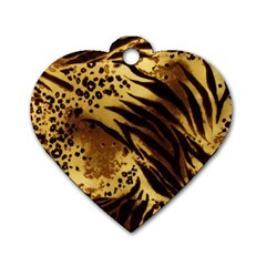 Pattern Tiger Stripes Print Animal Dog Tag Heart (two Sides)