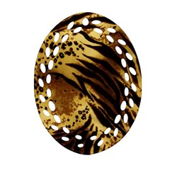Pattern Tiger Stripes Print Animal Oval Filigree Ornament (two Sides)