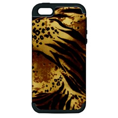 Pattern Tiger Stripes Print Animal Apple Iphone 5 Hardshell Case (pc+silicone)