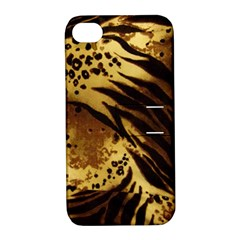 Pattern Tiger Stripes Print Animal Apple Iphone 4/4s Hardshell Case With Stand