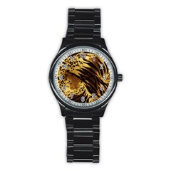 Pattern Tiger Stripes Print Animal Stainless Steel Round Watch