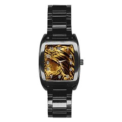 Pattern Tiger Stripes Print Animal Stainless Steel Barrel Watch