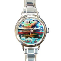Ocean Waves Birds Colorful Sea Round Italian Charm Watch