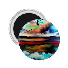 Ocean Waves Birds Colorful Sea 2 25  Magnets