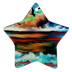 Ocean Waves Birds Colorful Sea Ornament (star)