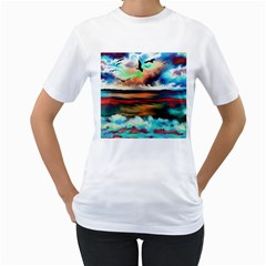 Ocean Waves Birds Colorful Sea Women s T Shirt (white) (two Sided)