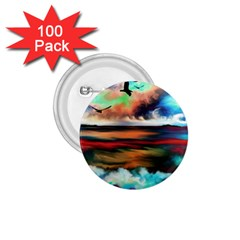 Ocean Waves Birds Colorful Sea 1 75  Buttons (100 Pack)