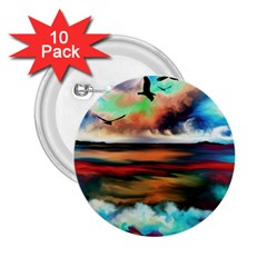 Ocean Waves Birds Colorful Sea 2 25  Buttons (10 Pack)