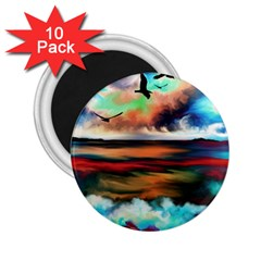 Ocean Waves Birds Colorful Sea 2 25  Magnets (10 Pack)
