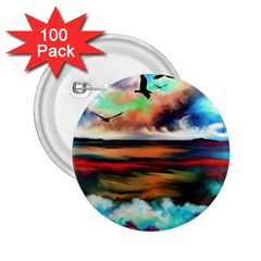 Ocean Waves Birds Colorful Sea 2 25  Buttons (100 Pack)