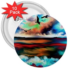 Ocean Waves Birds Colorful Sea 3  Buttons (10 Pack)