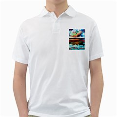 Ocean Waves Birds Colorful Sea Golf Shirts