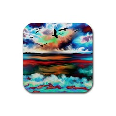 Ocean Waves Birds Colorful Sea Rubber Coaster (square)