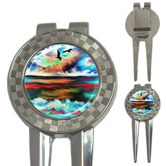Ocean Waves Birds Colorful Sea 3 In 1 Golf Divots