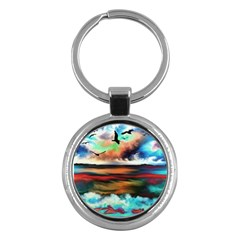 Ocean Waves Birds Colorful Sea Key Chains (round)