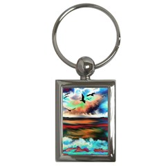 Ocean Waves Birds Colorful Sea Key Chains (rectangle)