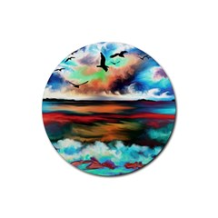 Ocean Waves Birds Colorful Sea Rubber Round Coaster (4 Pack)