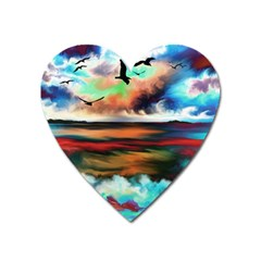 Ocean Waves Birds Colorful Sea Heart Magnet