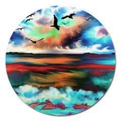 Ocean Waves Birds Colorful Sea Magnet 5  (round)