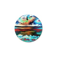 Ocean Waves Birds Colorful Sea Golf Ball Marker (4 Pack)