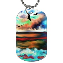 Ocean Waves Birds Colorful Sea Dog Tag (two Sides)