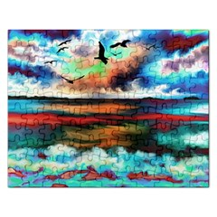 Ocean Waves Birds Colorful Sea Rectangular Jigsaw Puzzl
