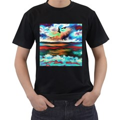 Ocean Waves Birds Colorful Sea Men s T Shirt (black) (two Sided)
