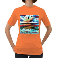 Ocean Waves Birds Colorful Sea Women s Dark T Shirt